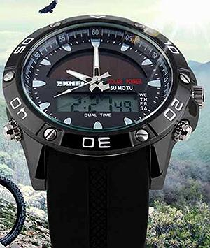DUAL TIME SOLAR POWERED MILITARY WATCH